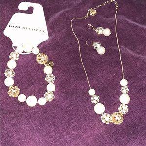 Dana Buchanan pearl earrings, necklace, bracelet